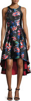 Sachin + Babi Sleeveless Floral Satin High-Low Dress, Garnet/Multicolor