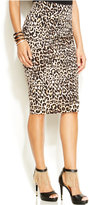 Thalia Sodi Leopard-Print Pencil Skirt