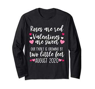 Valentines Day Pregnancy Announcement Shirts Baby Reveal Mom Long Sleeve T-Shirt