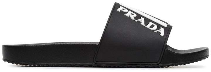 Prada black and white logo embossed pool slides