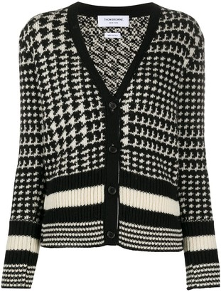 Thom Browne Pow Jacquard Classic V Neck Cardigan w/ Tipping Stripes In Shetland Wool