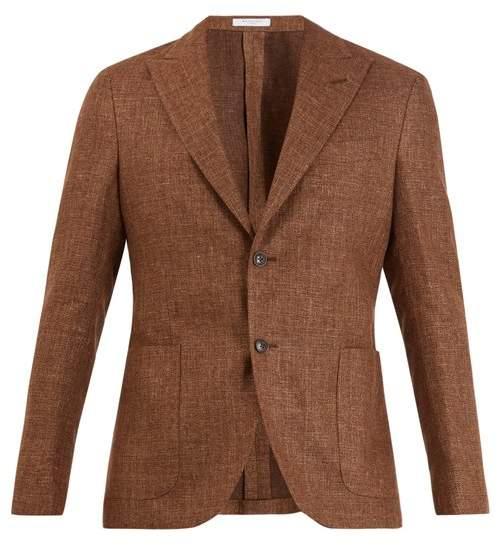 Boglioli Single Breasted Wool Blend Blazer - Mens - Brown