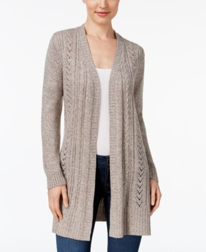 Karen Scott Pointelle-Knit Long Cardigan, Created for Macy's