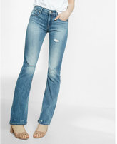 Express mid rise distressed faded stretch bootcut jeans