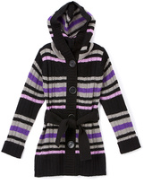 Pink Angel Purple Stripe Hooded Cardigan - Infant