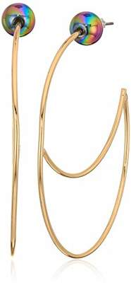 BCBGeneration BCBG Generation Women's Gold Cut-Out Wire Large Hoop Earrings
