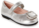 Moschino Toddler Girls) Silver Embellished Mary Jane Shoes