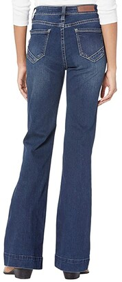 Rock and Roll Cowgirl High-Rise Trousers with Full Button Clouser in Dark Vintage W8H6092