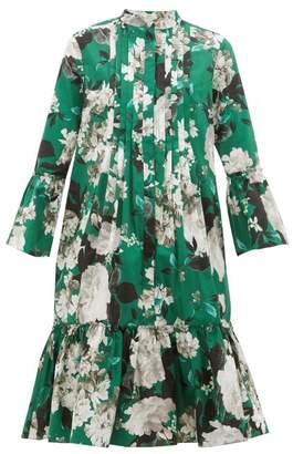 Erdem Winford Floral-print Pleated Cotton Dress - Womens - Green White