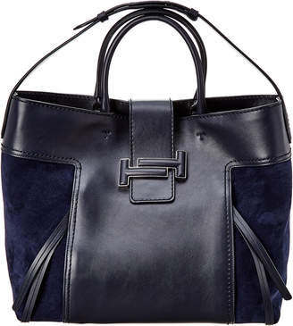 Tod's Double T Large Leather & Suede Tote