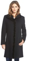Fleurette Petite Women's Genuine Mink Trim Stand Collar Wool Coat