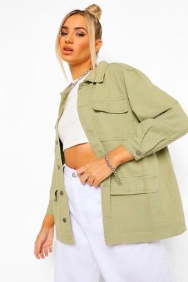 boohoo Denim Twill Cargo jean jacket