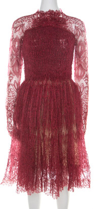 Ermanno Scervino Red Crinkled Tulle Lace Cocktail Dress S
