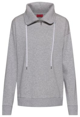 HUGO BOSS Zip Neck Sweatshirt In An Organic Cotton Blend - Grey