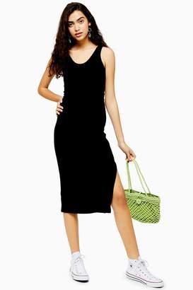 Topshop Womens Black Ribbed Belted Column Dress - Black