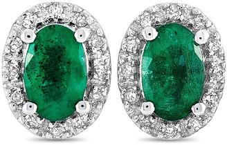 Non Branded 14K 0.10 Ct. Tw. Diamond & Emerald Earring