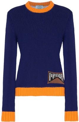 Prada contrast trim logo knitted jumper