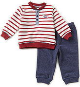 Little Me Baby Boys 3-12 Months Striped, Dachshund Sweatshirt and Solid Pants Set