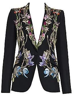 Alexander McQueen Women's Crystal-Embellished Floral Embroidered Blazer