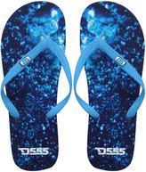 Yours Clothing D555 Navy Water Print Flip Flops