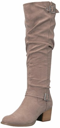 Madden-Girl Women's FLAASH Knee High Boot Taupe Fabric 9.5 M US