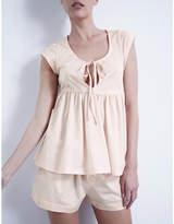 Bodas Pleated cotton-jersey pyjama set