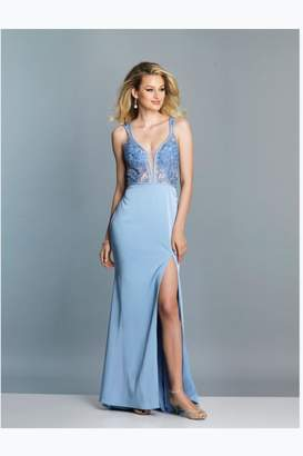Dave and Johnny Periwinkle Lace Gown