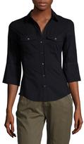 James Perse Cotton Ribbed Trim Point Collar Shirt