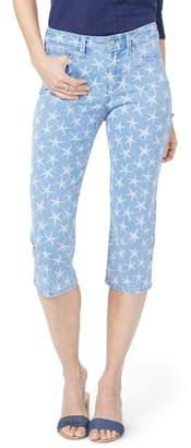NYDJ High Waist Seastar Print Stretch Crop Jeans