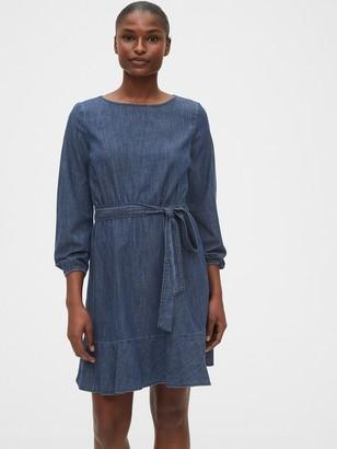 Gap Tie-Belt Mini Denim Dress
