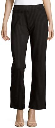 Matty M Wide-Leg Pinstripe Ponte Pants