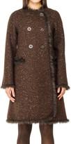 Max Studio Tweed Coat With Faux Fur Trim