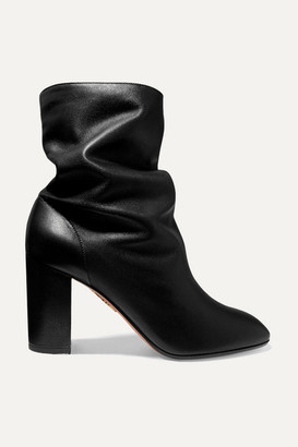 Aquazzura Boogie 85 Leather Ankle Boots - Black