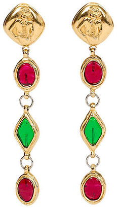 One Kings Lane Vintage Chanel Extra-Long Gripoix Earrings - Vintage Lux - gold/red/green