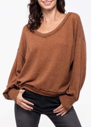Blu Pepper Waffle Knit V-Neck Sweater