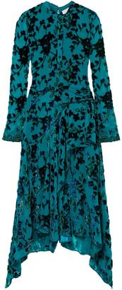 Chloé Draped Lace-trimmed Devore-crepon Midi Dress