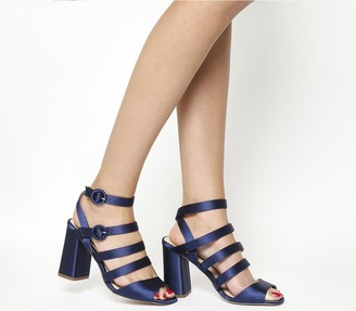 Office Home Time Square Toe Strappy Block Heels Navy Satin