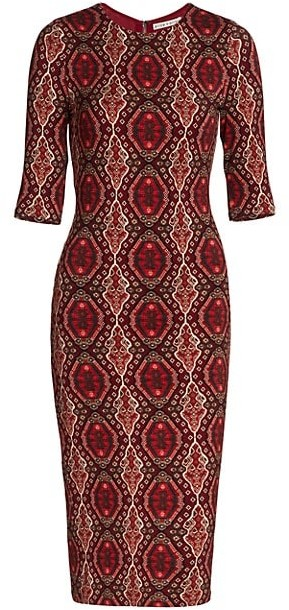 Alice + Olivia Delora Fitted Crewneck Dress