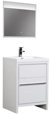 """Orren Ellis Chetek 30"""" Single Bathroom Vanity Set with Mirror Base Finish: White"""