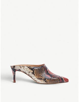 LK Bennett Hettie snakeskin-embossed leather heeled mules