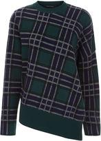Cédric Charlier Multi Tartan Check Asymmetric Sweater