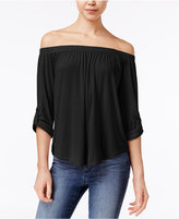 Ultra Flirt Juniors' Off-The-Shoulder Roll-Tab Top