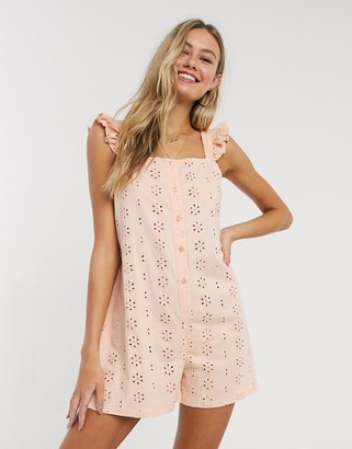 ASOS DESIGN frill sleeve broderie romper in pale pink
