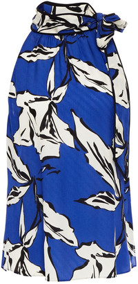Veronica Beard Sela Tie-neck Printed Silk-blend Jacquard Top