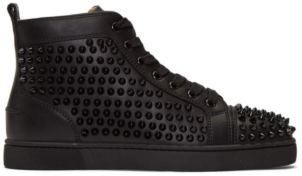 Christian Louboutin Black Louis Spikes Sneakers