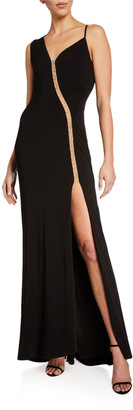 SHO Sleeveless Asymmetric Jersey Gown w/ Mesh Insert Detail