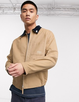 Albam Utility canvas harrington jacket with badge detail in stone
