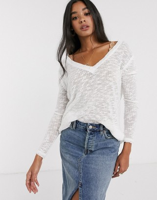 We The Free By Free People by Free People Ocen Air lightweight jumper-White