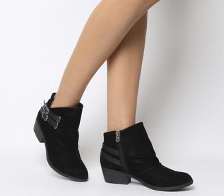 Blowfish Malibu Sistee Double Buckle Ankle Boots Black Fawn