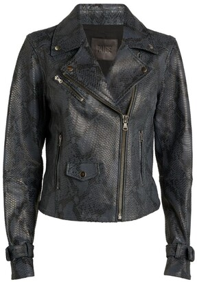 Paige Snakeskin-Embossed Ashby Biker Jacket